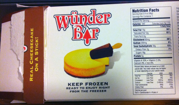 The Wunder Bar Nutritional Information Panel