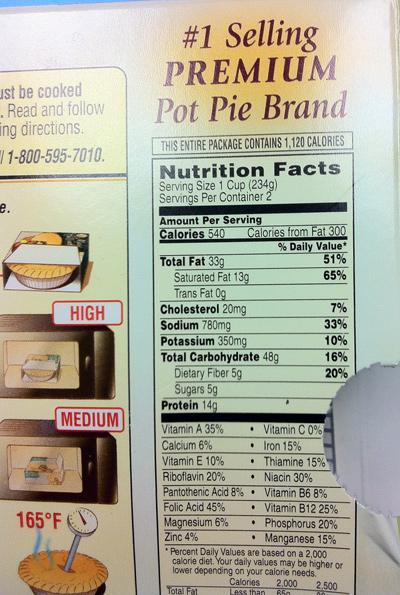 Marie Callendar's Nutrition Label