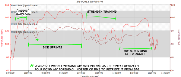 Heart Rate chart for gym workout.